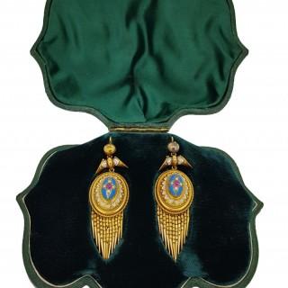 Victorian 14ct Gold Enamel, Ruby & Seed Pearl Articulated Tassle Drop Earrings