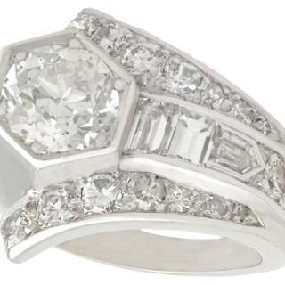3.24ct Diamond and Platinum Cocktail Ring - Art Deco - Antique Circa 1935