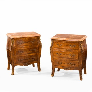 An Unusual Pair of Kingwood Bombe Dwarf Commodes or Chests