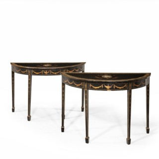 A Good Pair of Late George III Period Demilune Tables