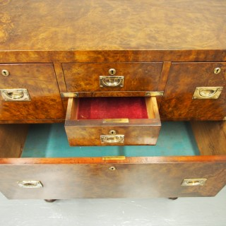 Victorian Burr Walnut Military Chest of Drawers