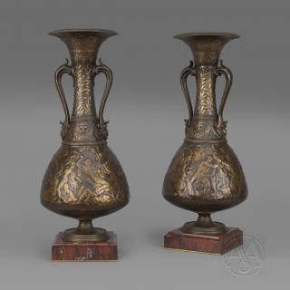 A Rare Pair of 'Neo-Grec' Style Multipatinated Bronze Amphora Vases By Ferdinand Levillain and Ferdinand Barbedienne
