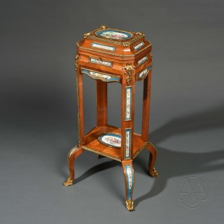 A Fine Transitional Style Sèvres Style Porcelain Mounted Jewellery Box on Stand Attributed to Maison Giroux