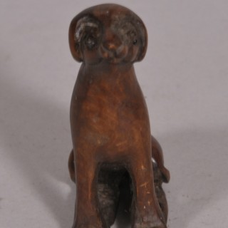 Antique 19th Century Carved Fruitwood Figure of a Seated Hound