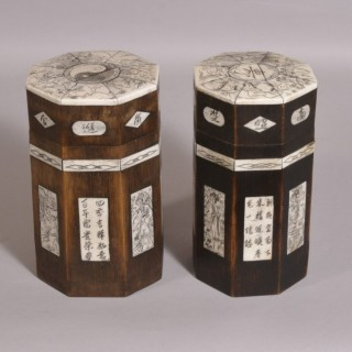 Antique Early 20th Century Pair of Japanese Octagonal Bamboo Tea Caddies