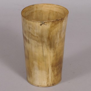 Antique 19th Century Large Blond Horn Ale Beaker