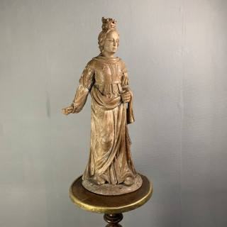 A Very Well Carved Figure Of A Saint Bearing A Crown Circa 1600