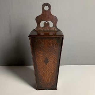 Oak And Cross Banded Candle Box Circa 1800