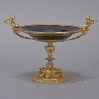 A Napoleon III Gilt-Bronze and Agate Glass Tazza