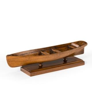 A late Victorian mahogany rowing boat model