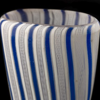 A Glass Beaker with Blue and White Fili and Retortoli; late 17th century.