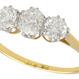1.29ct Diamond and 18ct Yellow Gold, Platinum Set Trilogy Ring - Antique Circa 1925