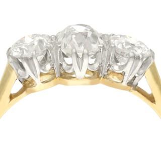 1.29ct Diamond and 18ct Yellow Gold, Platinum Set Trilogy Ring - Antique Circa 1925