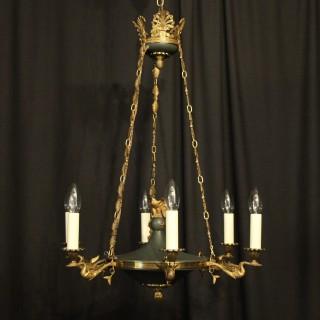 French Gilded Brass Empire 6 Light Chandelier