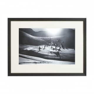 Vintage Style Ski Photography, Framed Alpine Ski Photograph, Happy Skiers