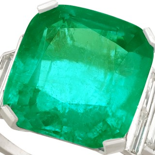 5.00 ct Colombian Emerald and 0.46 ct Diamond, Platinum Dress Ring - Antique Circa 1930