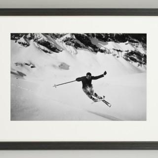 Vintage Style Ski Photography, Framed Alpine Ski Photograph, Quersprung.