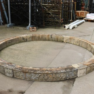Reclaimed Carved Limestone Circular Pool Surround