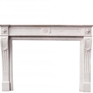 Antique Louis Xvi Style Carrara Marble Fire Surround