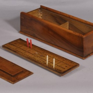 Antique Treen 19th Century Solid Yew Wood Games Box