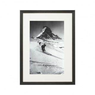 Vintage Style Ski Photography, Framed Alpine Ski Photograph, Matterhorn & Skiers.