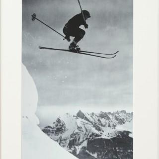 Vintage Style Ski Photography, Framed Alpine Ski Photograph, Der Sprung