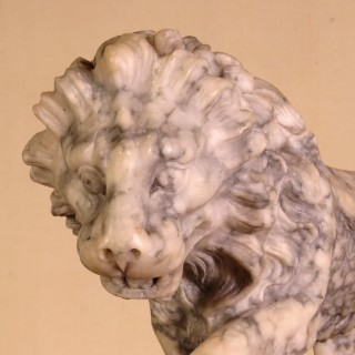 Pair of Grand Tour 19th Century Carved Alabaster Lions