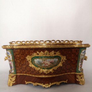 19th Century French Kingwood Ormolu And Sevres Porcelain Jardiniere