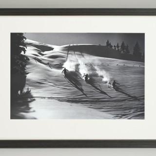 Vintage Style Ski Photography, Framed Alpine Ski Photograph, Descent in Powder