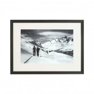 Vintage Style Ski Photography, Framed Alpine Ski Photograph, Panoramic View