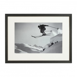 Vintage Style Ski Photography, Framed Alpine Ski Photograph, Courageous Jump.
