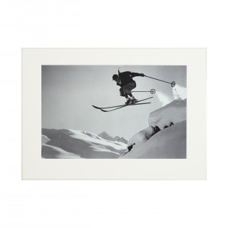 Vintage Style Ski Photography, Framed Alpine Ski Photograph, Courageous Jump.