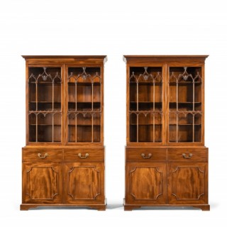 A Pair of Late George III Period Mahogany Bookcases