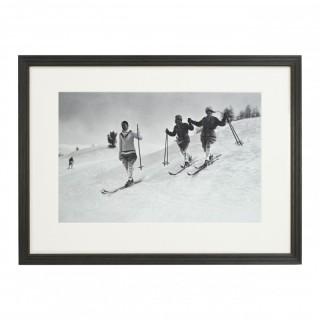Vintage Style Ski Photography, Framed Alpine Ski Photograph, St. Moritz.