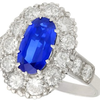 3ct Sapphire and 1.83ct Diamond, 18ct White Gold Cluster Ring - Antique Circa 1935