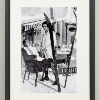 Vintage Style Ski Photography, Framed Alpine Ski Photograph, Haircut Sir.1