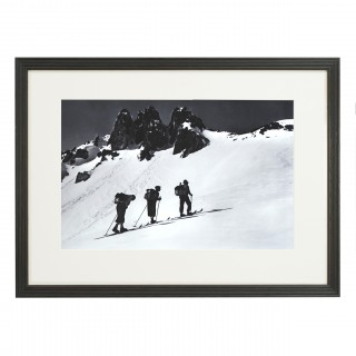 Vintage Style Photography, Framed Alpine Ski Photograph, Three Peaks