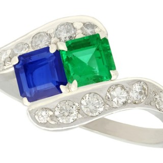 0.47ct Sapphire and 0.50ct Emerald, 0.77ct Diamond and Platinum Twist Ring - Vintage Circa 1950
