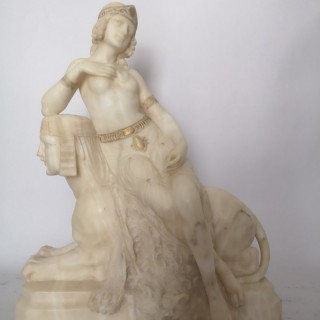 Italian Art Deco Sculpture Of A Lady Upon A Sphinx By F Masini