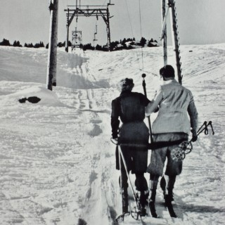 Vintage Style Photography, Framed Alpine Ski Photograph, The Lift.