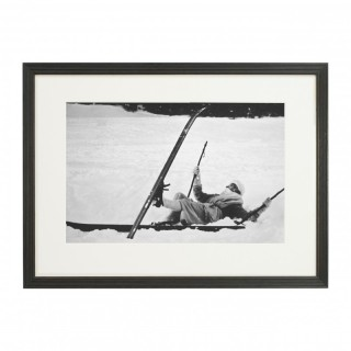 Vintage Style Photography, Framed Alpine Ski Photograph, Opps!