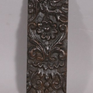 Antique Mid 17th Century Carved Oak Fragment Headed by a Winged Griffin