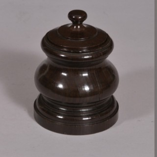Antique Treen Lignum Vitae Tobacco Jar of the Georgian Period