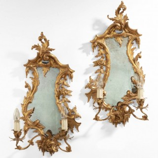 Pair of Chippendale Style  Wall Bracket Mirrored  Girandoles