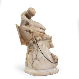 An Art Deco alabaster carving