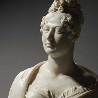 Neoclassical Marble Portrait bust of Queen Caroline