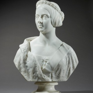An Important Marble Portrait bust of the young Queen Victoria