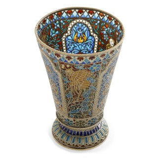 Vermeil and enamel Russian cup by Pavel Ovchinnikov