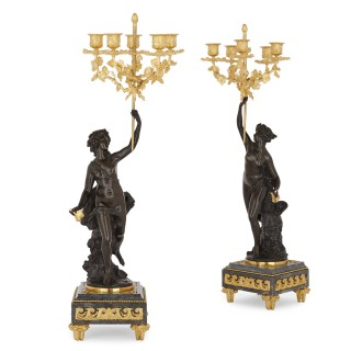 Ormolu and patinated bronze mounted clock set by Denière