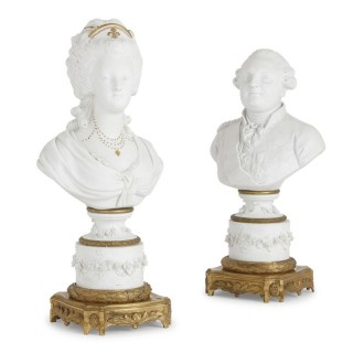 Porcelain busts of Louis XVI and Marie Antoinette in style of Sèvres